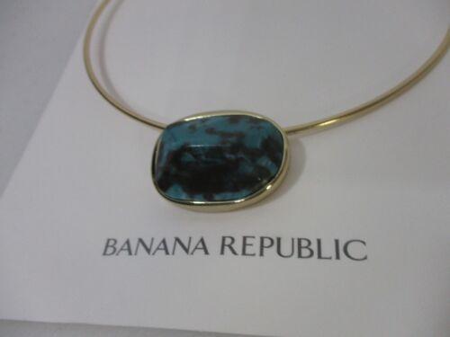 Banana Republic Women/'s Turq Oval Pendant Gold Round Choker Necklace NWT 68