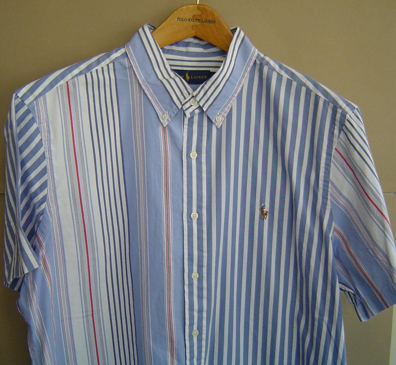 NWT  RALPH LAUREN Mens XL CLASSIC FIT STRIPE OXFORD COTTON SHIRT bluee White