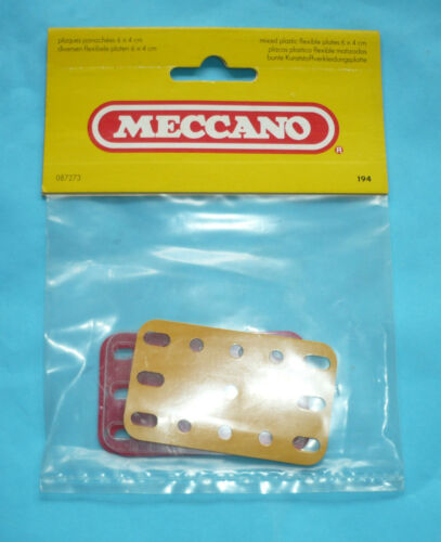 Six Meccano plastic plates part 194 red yellow clear in original factory pack