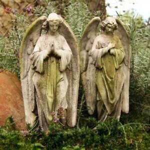 Details About Praying Angel Statues Set Of 2 Fiberglass Memorial Garden  Statues 18 Inch