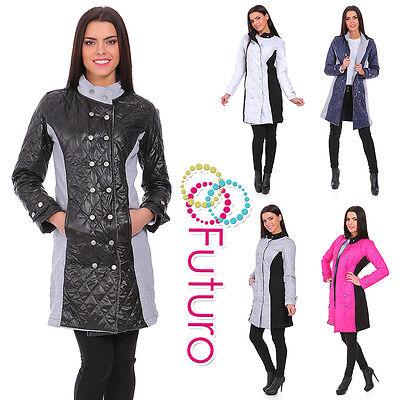 Ladies Quilted Comfy 3/4 Length Stand Up Collar Button Jacket Coat Fz85 So Effektiv Wie Eine Fee