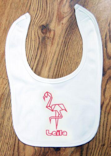 Personnalisé Bébé Bib Brodé Moderne Flamingo Garçons Filles Cadeau Polygone