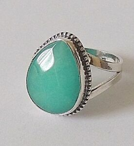 925-STERLING-SILVER-CHUNKY-TEARDROP-GREEN-TURQUOISE-RING-size-O-or-P