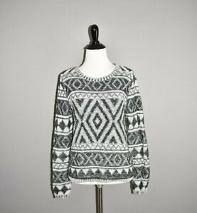 LUCKY-BRAND-90-Black-White-Jacquard-Pullover-Sweater-Small