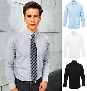 Men S Long Sleeve Oxford Shirt Semi Fitted Style Smart Office