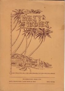 Vintage WEST INDIES Chinese American Tiki Restaurant Menu, Reno Nevada 1940s-50s