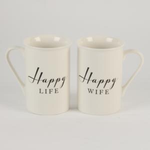 Amore 2 tasses Ensemble Cadeau vie heureuse et heureux Femme Mariage Anniversaire Coffret Cadeau