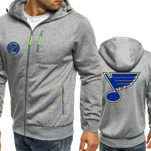 New St Louis Blues Fans Hoodie Hooded Full-zip Jacket Sweatshirt Warm Coat Top