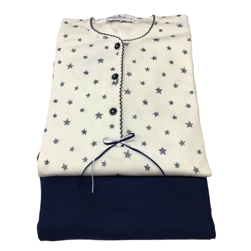 Amica Pyjamas Frau Weiß/blau 100%baumwolle Interlok Made In Italy