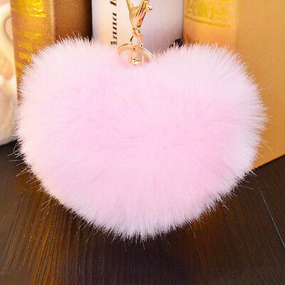 Heart Rex Rabbit Fur Ball PomPom Phone Keychain Pendant Handbag Charm Key Rings