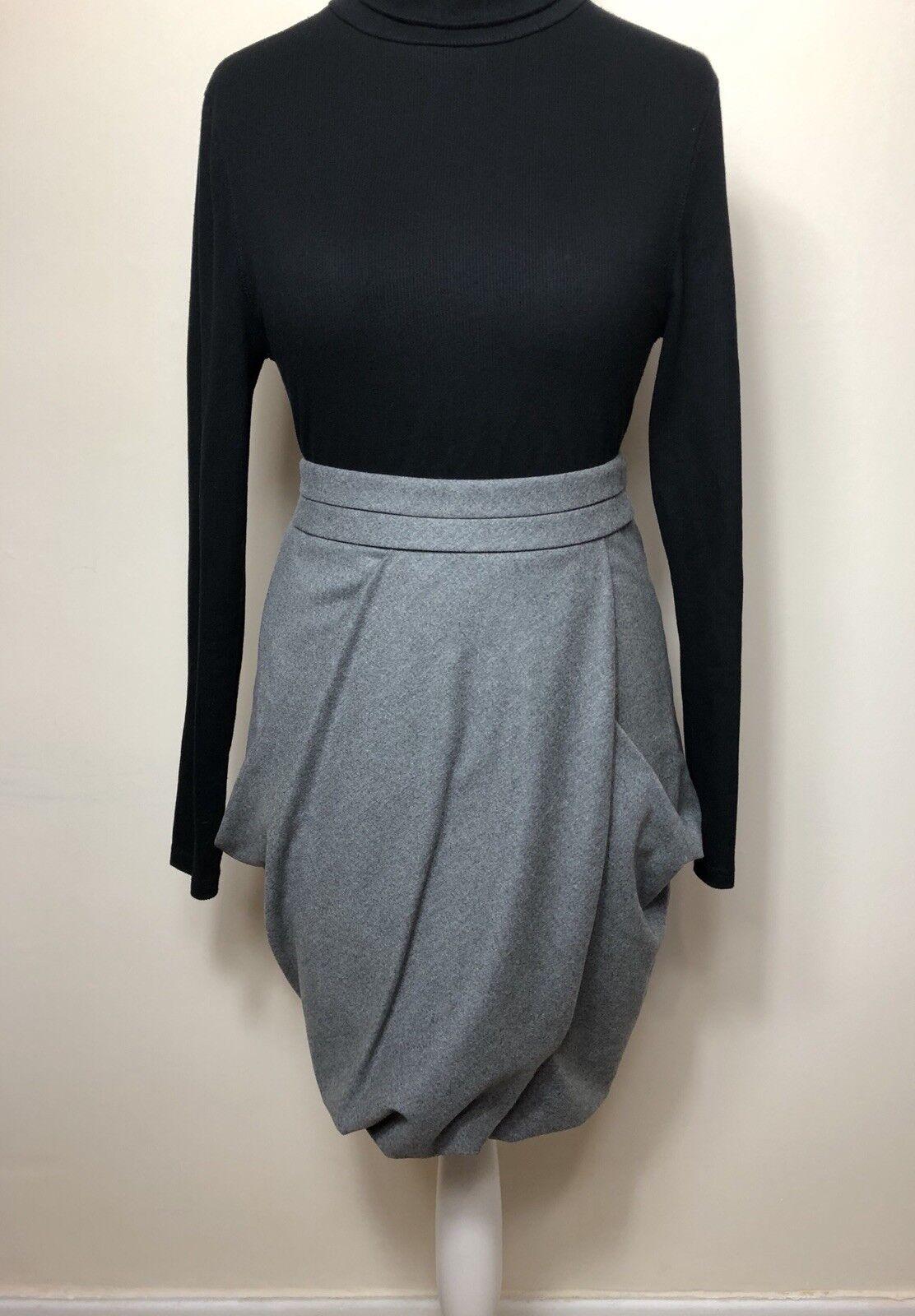 Ladies ARMANI Size 44 IT Grey Skirt Wool Angora Blend Draped Tulip Pleated
