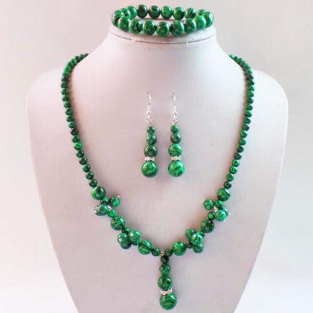 Fashion Mixed Round Gemstone Beads Necklace Earrings Bracelet Sets LX-122