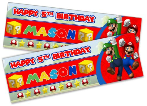 x2 Personalised Birthday Banner Super Mario Children Kids Party Decoration 11