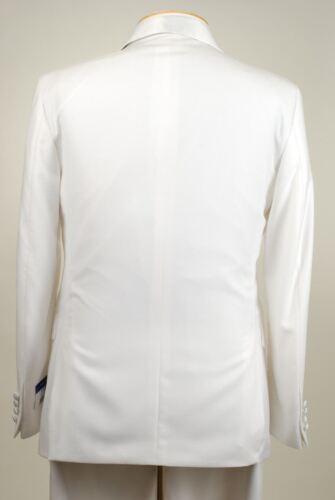 48L SAVILE ROW  1 Button Solid White Tuxedo Suit 48 Long M03