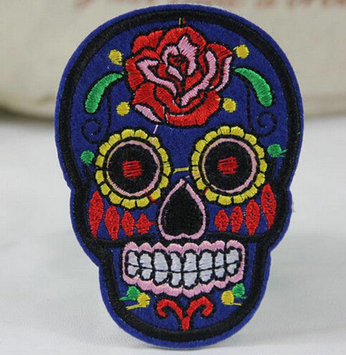 2Pcs DIY Embroidered Cloth Iron On Patch Sew Motif Applique skull Crafts