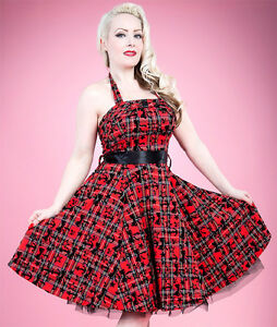 New-Hearts-amp-Roses-Red-Tartan-Anchor-Long-Dress-Retro-Rockabilly-Goth-Emo-Punk