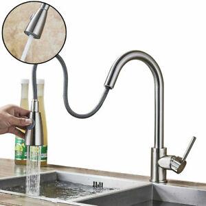 Modern Kitchen Sink Mixer Taps Pull Out Single Lever Chrome Brass Spray Mono Tap Ebay