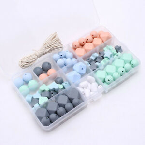 Baby Teether Geometric Silicone Chew Beads Kit DIY Teething Necklace Jewelry Toy