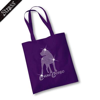 Jutebeutel Beutel Bag Einkaufstasche Shopper Strass Hund Cane Corso M1