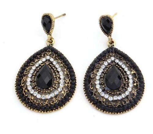 Lady Women Elegant Crystal Vintage Drop Dangle Rhinestone Ear Stud Earrings Gift