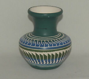 Native-American-Blue-with-Black-and-White-Etched-Vase-by-Jonathan-Davis-Navajo