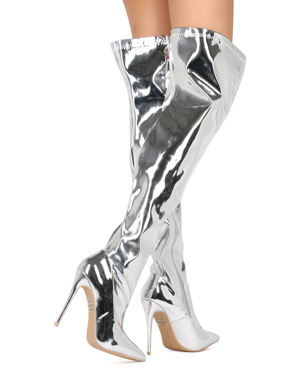 New Women Elegant Collection Kassandra1 Mirror Metallic Thigh High Stiletto Boot