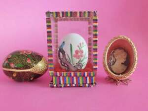Vintage Egg Collection, Lot of 3, Handmade, Rare, Decorative Eggs, Easter Gift
