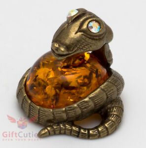 Solid Brass Amber Figurine Amulet Hood Flared Indian Cobra Snake IronWork