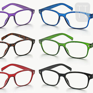 New-Rimmed-READING-GLASSES-Readers-amp-POUCH-Black-Blue-Red-1-0-1-5-2-2-5-3-0