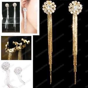 CLIP-ON-glass-rhinestone-CRYSTAL-EARRINGS-long-SLINKY-liquid-silver-gold-plated