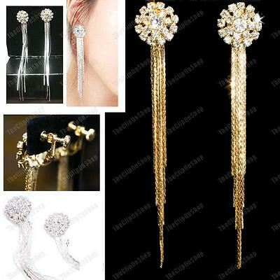 CLIP ON glass rhinestone CRYSTAL EARRINGS long SLINKY liquid silver/gold plated