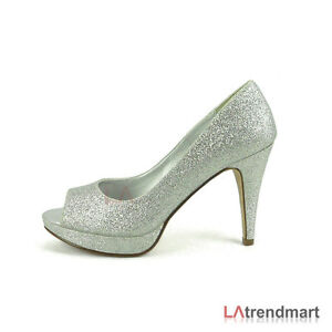 Silver High Heels Open Toe  Tsaa Heel