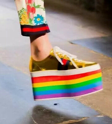 142632fab58 Womens Rainbow Colors Platform Shoes High Wedge Lace Up Heel Leather Ankle  Boots