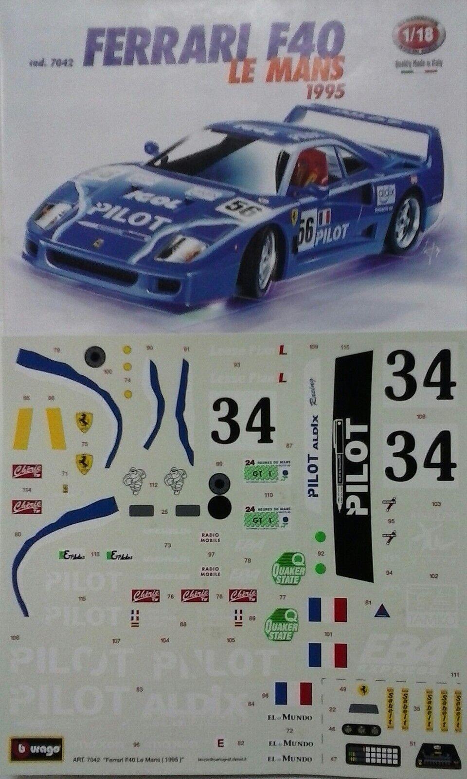BURAGO 1:18  KIT IN METALLO AUTO FERRARI F40 LE MANS 1995 MADE IN ITALY ART 7042 | Les Produits Sont Vendus Sans Prescription Mode Et Forfaits Attractifs  | Art Exquis