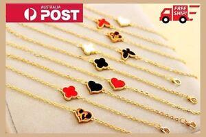 Fashion-Charm-Women-Red-Heart-Clover-Love-Chain-Bangle-Jewelry-Bracelet-Handmade