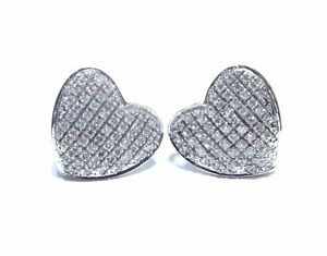Image Is Loading Las 10k White Gold Heart Shaped Diamond Stud