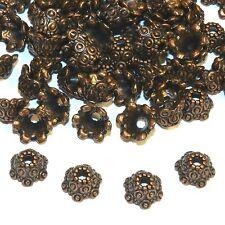 MXL3160p Antiqued Copper 10mm Fancy Scalloped Dotted Metal Bead Caps 100/pkg