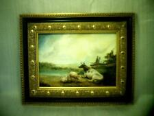 Fine ANTIQUE original HUNGARIAN - HUNGARY OIL PAINTING ( COW & LAMBS )