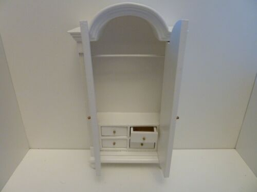Dolls House Miniature 1:12th Bedroom Furniture White Wardrobe w Internal Drawers