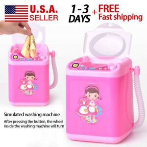 Details about New Mini Electric Washing Machine Toy Makeup Brushes Sponges  Pre School Toy Wash