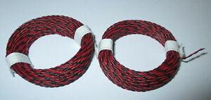 0-475-M-Conducteur-Jumele-2-X-10m-Extra-Mince-Rouge-Noir-2-X-0-04qmm-Neuf