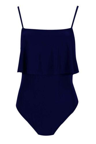 Ladies Summer Swimwear Cami Strappy Frill Leotard Womens Stretchy Bodysuit Top