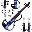 New Black Bright Sound 4/4 Electric Violin Fiddle + Rosin + Bow+Case+ Earphone