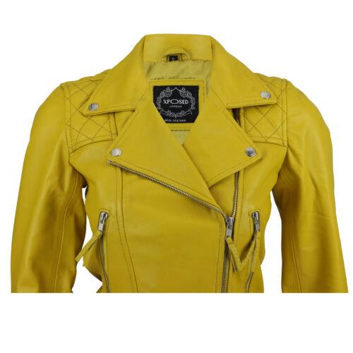 Ladies Womens Yellow Soft Real Leather Vintage Slim Fit Zip Biker Style Jacket
