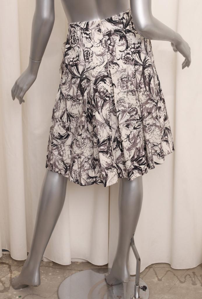 CAROLINA HERRERA Womens Cream Floral Print Cotton Pleated A-Line Skirt 2 XS