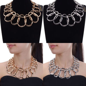 Fashion-Jewelry-Metal-Chain-Collar-Choker-Chunky-Statement-Bib-Pendant-Necklace