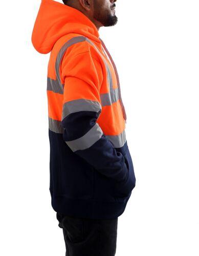 Nuovo da Uomo Hi Vis Felpa Fluorescente Lavoro Sicurezza Maglione Zip Tasca