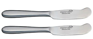 2-x-Masterclass-Stainless-Steel-Butter-Knife-Spreader-Kitchen-Dining-16cm-New