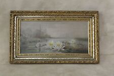 19thc Victorian OOC Painting Beautiful Pond Water Lilies Orig. Gold Gesso Frame