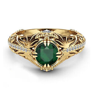 Gold-plated-Emerald-Diamond-Women-Anniversary-Engagement-Wedding-Gemstone-Ring